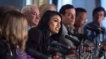 In this September 15, 2015 file photo, Ashley Callingbull joins other actors, activists, and musicians in launching the Leap Manifesto outlining a climate and economic vision for Canada during a press conference in Toronto THE CANADIAN PRESS/Darren Calabrese