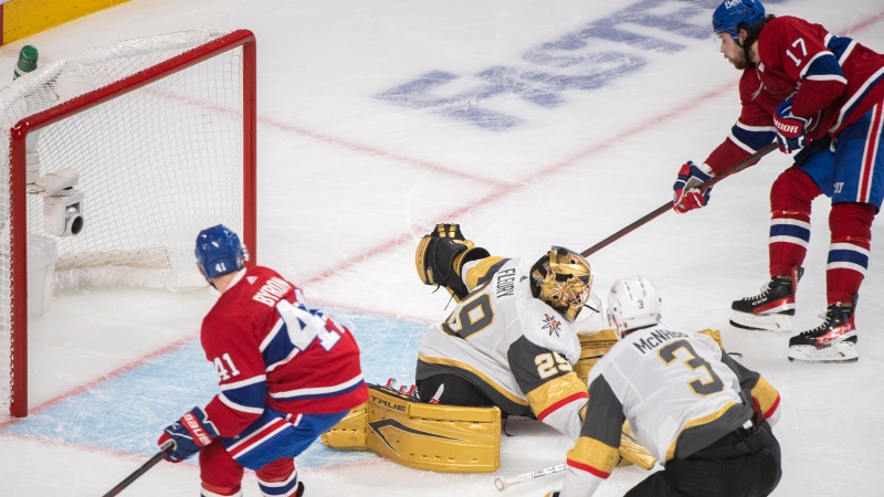 Montreal Canadiens' Josh Anderson scores against Vegas Golden Knights goaltender Marc-Andre Fleury as Canadiens' Paul Byron and Knights' Brayden McNabb (3) look for the rebound during overtime in Game 3 of the NHL Stanley Cup semifinal in Montreal, Friday, June 18, 2021. THE CANADIAN PRESS/Graham Hughes