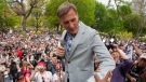 Maxime Bernier, Leader of the People's Party of Canada prepares to speak to the crowd as protesters demonstrate against measures taken by government and public health authorities to curb the spread of COVID-19, in Toronto, Saturday, May 15, 2021. THE CANADIAN PRESS/Chris Young