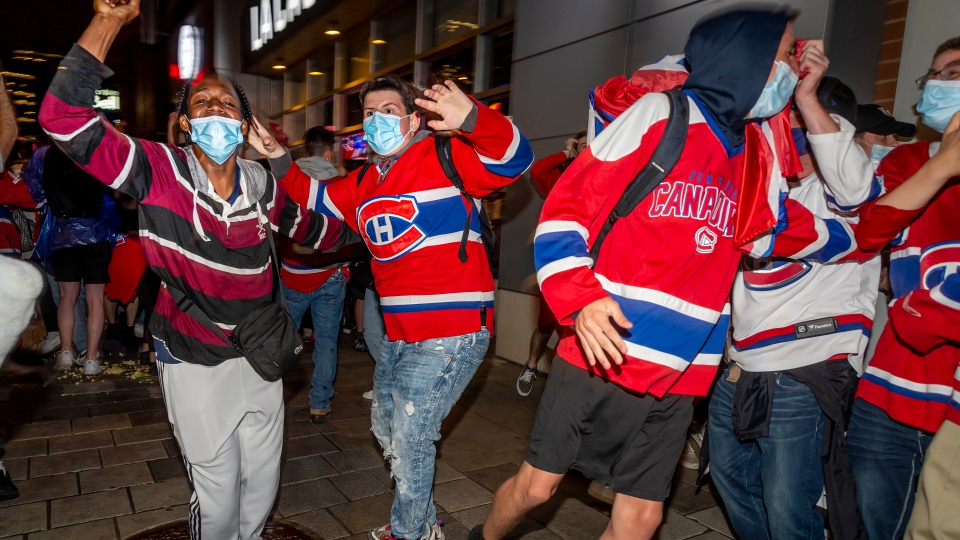 Habs fans celebrate after beating the Knights