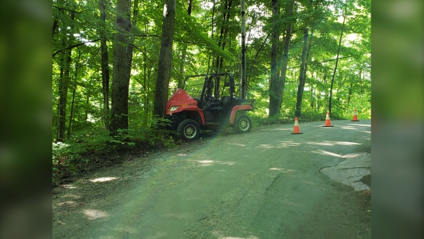Two passengers of an off-road vehicle were sent to hospital after a single-vehicle collision Sat. June 19 on Gregory Lane in Haliburton (Courtesy: OPP)