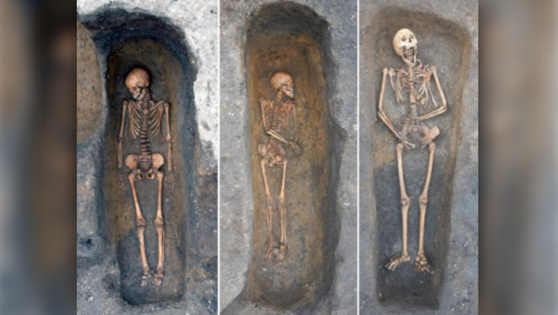 Individuals buried in the chapter house of the Augustinian friary, Cambridge, who died of plague. (Cambridge Archaeological Unit)