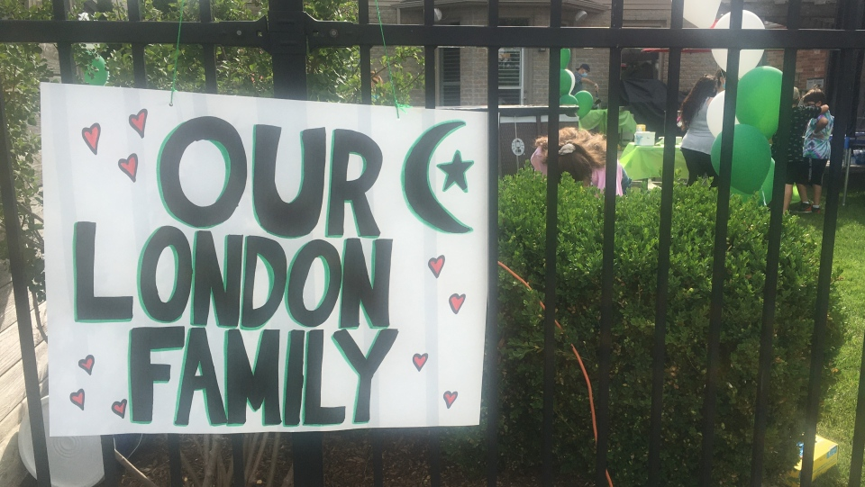 Sign reads, Our London Family