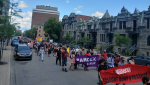 Demonstrators in Montreal marched to the premier's office to demand his government do more to address the housing crisis in Quebec. SOURCE: RCLALQ