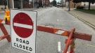 A portion of Erie St in Wheatley remains barricaded even though an evacuation order is being lifted, June 19, 2021 (Michelle Maluske/CTV Windsor)