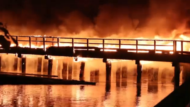 An abandoned dock on the Fraser River in North Surrey went up in flames Friday night and burned until morning, according to fire officials.