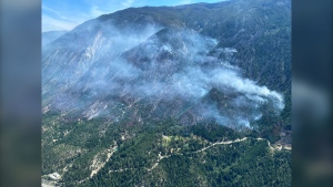 The George Road fire is burning roughly seven kilometres south of Lytton, adjacent to Highway 1. (BC Wildfire Service)