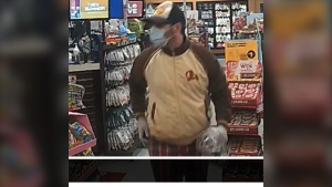 Barrie Police are searching for this man in connection to an armed robbery at a Circle K location overnight on Sat. June 19, 21 (Courtesy: Barrie Police)