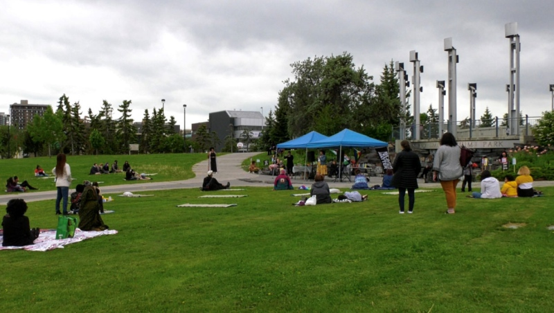 A gathering of Calgarians at Shaw Millennium Park marked June 19, better known as Juneteenth, the anniversary of the abolition of slavery in the U.S.