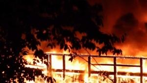 Fire engulfs pier in Surrey