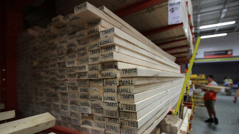 FILE - In this July 11, 2019, file photo lumber is stacked at the Home Depot store in Londonderry, N.H. The Home Depot Inc. on Tuesday, Aug. 20, reported fiscal second-quarter net income of $3.48 billion.  (AP / Charles Krupa, File)