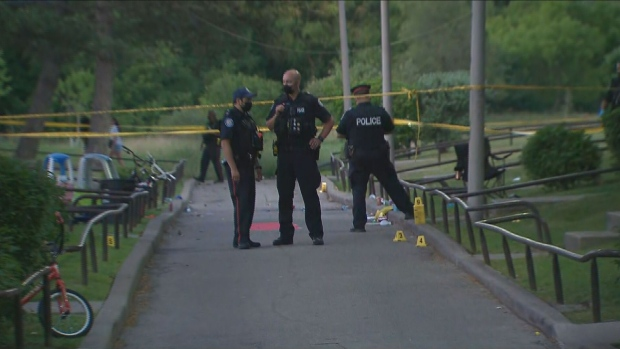 Toronto police are investigating a shooting at a child's birthday party in Rexdale that left at least four people injured, including three children.
