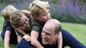 This June 2020 photo provided by the Duke and Duchess of Cambridge shows William, the Duke of Cambridge; Prince George, Princess Charlotte and Prince Louis in Norfolk, England, released on Saturday, June 20, 2021 to commemorate William's birthday and Father's Day.  (Catherine, The Duchess of Cambridge via AP)