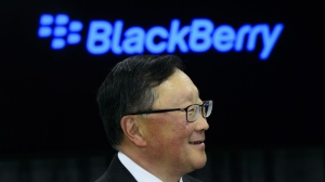 BlackBerry CEO John Chen takes part in an event at BlackBerry QNX Headquarters in Ottawa on Friday, Feb 15, 2019. CANADIAN PRESS/Sean Kilpatrick