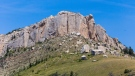 A woman died after she fell more than 200 feet from a Wyoming peak while on a sunrise hike with her husband, according to the Sheridan County Sheriff's Office. Steamboat Point is a rock feature in the Bighorn Mountains near Sheridan, Wyoming. (Getty Images)