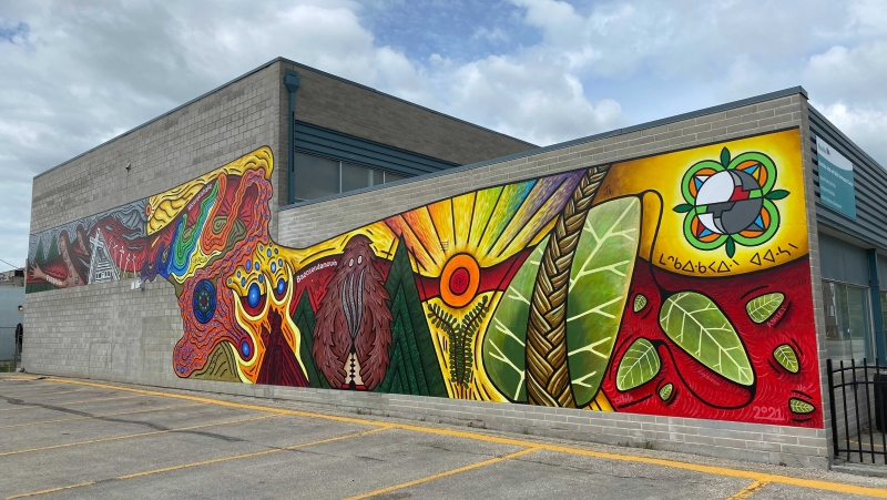 A mural painted in Selkirk that commemorates the history and legacy of residential schools and honours residential school survivors. (Zachary Kitchen/CTV News)