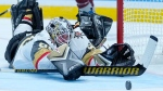 Vegas Golden Knights goaltender Robin Lehner (90) dives to make a save against the Colorado Avalanche in the second period of Game 1 of an NHL hockey Stanley Cup second-round playoff series Sunday, May 30, 2021, in Denver. (AP Photo/Jack Dempsey)