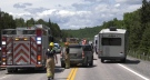 Emergency crews on scene of a two-vehicle collision in West Nipissing where a victim has been airlifted to hospital after suffering life-threatening injuries. June 20/21 (Eric Taschner/CTV News Northern Ontario)