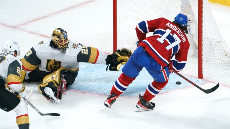 Montreal Canadiens' Josh Anderson scores past Vegas Golden Knights goaltender Marc-Andre Fleury during overtime of Game 3 of the NHL Stanley Cup semifinal Friday, June 18, 2021 in Montreal. THE CANADIAN PRESS/Paul Chiasson