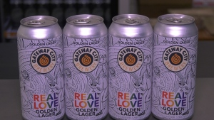 The beer is called 'Real Love Golden Lager.' It was launched back in 2019 and its overwhelming success convinced the brewery to bring it back. June 19/21 (Eric Taschner/CTV News Northern Ontario)