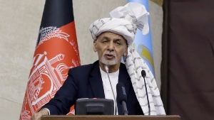 President Ashraf Ghani speaks during the opening ceremony of the new legislative session of the Parliament in Kabul, Afghanistan, in this  March 6, 2021 file photo. (AP Photo/Mariam Zuhaib)