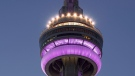 The CN Tower in Toronto, Ont. was lit Purple June 20, 2021 for ALS Awareness Month