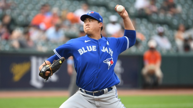 Toronto Blue Jays starting pitcher Hyun Jin Ryu throws a pitch during the sixth inning of a baseball game against the Baltimore Orioles, Sunday, June 20, 2021, in Baltimore. (AP Photo/Terrance Williams)