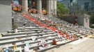 The Kamloops residential school memorial site on the steps of the Vancouver Art Gallery on Sunday, June 20, 2021.
