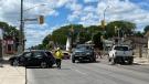 A multi-vehicle collision sent three people to hospital Sunday, June 20, 2021. (Zachary Kitchen/CTV News)
