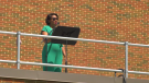 Edmonton Opera treated people to a show from the rooftop of the Jubilee Auditorium Sunday June 20, 2021. (CTV News Edmonton)