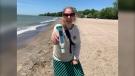 Citizen Scientist Emily Lockhart at Cedar Beach in Kingsville (Chris Campbell, CTV News Windsor)