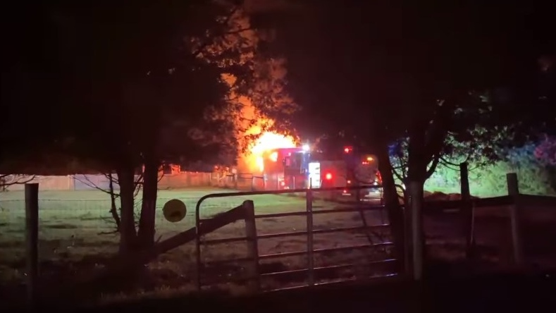 Charlotte's Freedom Farm said on Facebook that the empty trailer at the back of their property was set on fire around 1:30 a.m. on Sunday. (Charlotte's Freedom Farm / Facebook)