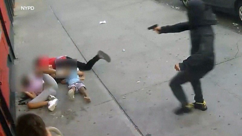 Gunman opens fire on NYC street inches away from young kids