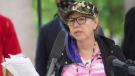 In this file photo, Ellen Gabriel reads a statement to media on the thirty year anniversary of the Oka crisis in Oka, Que., Saturday, July 11, 2020. THE CANADIAN PRESS/Graham Hughes