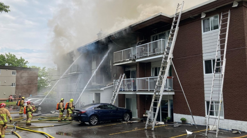 More than 80 firefighters responded to a five-alarm fire at an apartment building in Laval Monday, June 21, 2021. (Source: Twitter/@SPCIQ)