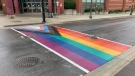 Brantford police are investigating after a Pride crosswalk was vandalized. (Supplied)