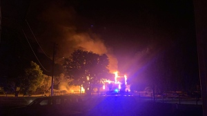 A fire on the Penticton Indian Band reserve destroyed the Scared Heart Church on National Indigenous Peoples Day, June 21, 2021. (Lena-Theresa May Jack)