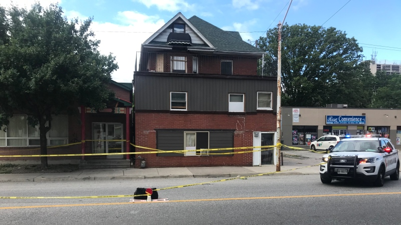 Police had a section of Wyandotte Street West between Bruce Avenue and Church Street closed for an active investigation in Windsor, Ont. on Monday, June 21, 2021. (Angelo Aversa/CTV Windsor)