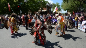 Indigenous dancers perform at a rally in support of Joyce Echaquan in Trois-Rivieres, Que., Wednesday, June 2, 2021. Echaquan, a 37-year-old Atikamekw mother of seven, filmed herself on Facebook Live as a nurse and an orderly were heard making derogatory comments toward her shortly before she died last September at a hospital northeast of Montreal. THE CANADIAN PRESS/Ryan Remiorz