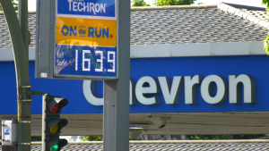 A Chevron sign advertises gas at 163.9 cents a litre in Vancouver, B.C., on Monday, June 21, 2021.