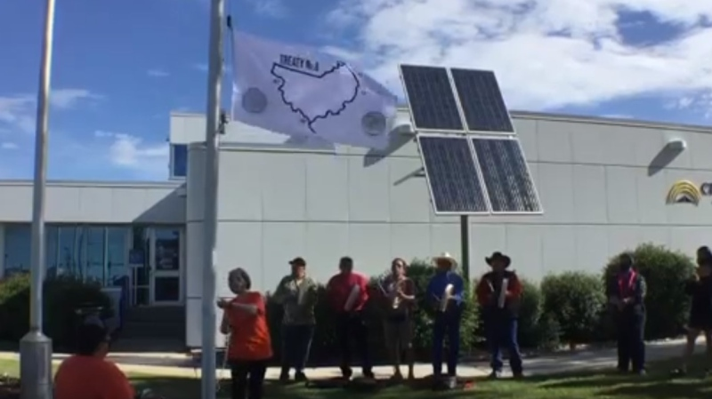 Mayor Lori Ackerman (Middle) raises the Treaty 8 flag on National Indigenous Peoples Day. Video Courtesy of City of Fort St. John