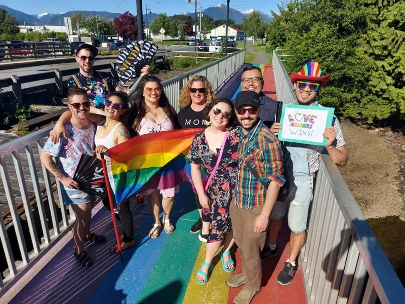 A picture from the small Prince Rupert pride celebration that was held on the city's rainbow bridge on Saturday, June 19th. (Source: Prince Rupert Pride).