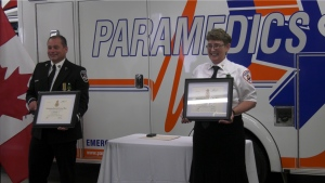 Darren Russell, primary care paramedic and Allison Irvine, medical first responder, were each presented with the Saskatchewan Protective Services Medal. (Lisa Risom/CTV News)
