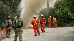 Crews are pictured at the scene of a gas leak in Mississauga Monday, June 21, 2021. (@mnunes0013 /Twitter)