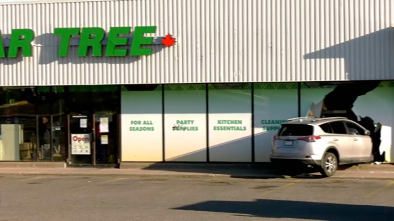 No employees or customers were injured when an SUV drove into a Dollar Tree store on Macleod Trail S.E. Monday night around 7 p.m.