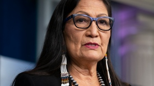 In this April 23, 2021, file photo, Interior Secretary Deb Haaland speaks during a news briefing at the White House in Washington. (AP Photo/Evan Vucci, File)