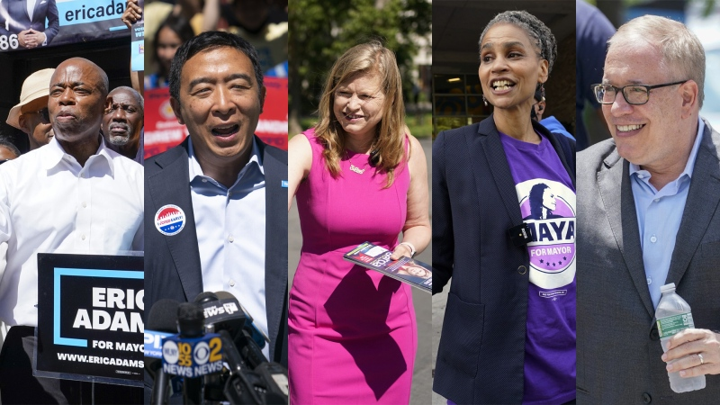Eric Adams, Andrew Yang, Kathryn Garcia, Maya Wiley and Scott Stringer are seen campaigning for the New York City mayoral election in this combination photo. (AP photo)