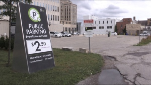 A parking lot on downtown London, Ont. on Monday, June 21, 2021. (Daryl Newcombe / CTV London)
