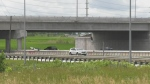 Construction of the Harvie road overpass in Barrie (Rob Cooper/CTV News)