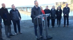 Former British Columbia Chamber of Commerce president Val Litwin addresses a news conferemce in Esquimalt, B.C., Thursday, Dec.6, 2018.